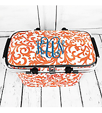 Coral Ivy Damask with Gray Trim Collapsible Insulated Market Basket with Lid #RMC658-GRAY