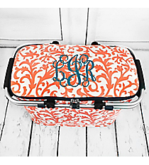 Coral Ivy Damask with Navy Trim Collapsible Insulated Market Basket with Lid #RMC658-NAVY