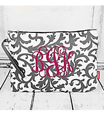 Gray Ivy Damask Large Cosmetic Bag #RMK832-NAVY