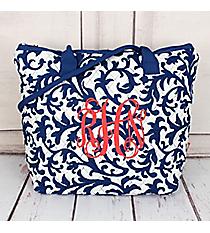 Royal Blue Ivy Damask Quilted Shoulder Bag #RMKR1515-ROYAL