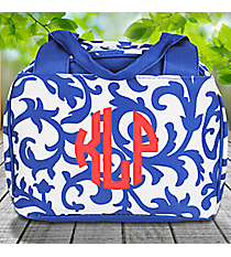 Royal Blue Ivy Damask Insulated Bowler Style Lunch Bag #RMKR255-ROY/BL