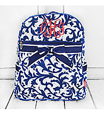 Royal Blue Ivy Damask Quilted Backpack #RMKR2828-ROYAL