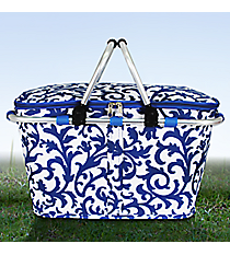Royal Blue Ivy Damask Collapsible Insulated Market Basket with Lid #RMKR658-ROY/BL