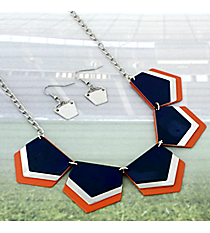 "18"" Blue, Orange, and Silver Layered Geometric Necklace and Earring Set #RNE3361-BLUE/ORA"