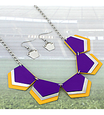 "18"" Purple, Yellow, and Silver Layered Geometric Necklace and Earring Set #RNE3361-PURP/YEL"