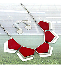 "18"" Red, White, and Silver Layered Geometric Necklace and Earring Set #RNE3361-BUR/WHT"