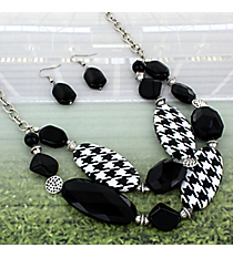 """17"""" Houndstooth and Black Beaded Necklace and Earring Set #RNE3363-BS"""