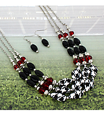 """18"""" Houndstooth, Black and Red Beaded Necklace and Earring Set #RNE3365-RH"""