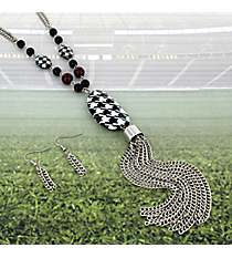 """30"""" Houndstooth Beaded Tassel Necklace and Earring Set #RNE3372-RH"""