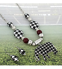 """17"""" Beaded Houndstooth Elephant Necklace and Earrings Set #RNE3374-RH"""