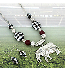 "17"" Houndstooth Beaded Silvertone Elephant Necklace and Earring Set #RNE3375-RH"