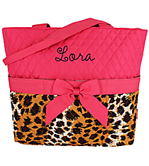 Leopard Quilted Diaper Bag with Hot Pink Trim #RP2121-HPINK