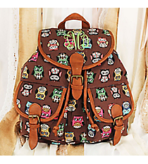 Wise Owls Brown Backpack #RY-W081-B375-BW