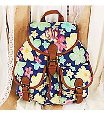 Pretty Petals Blue Backpack #RY-W081-FH393-BU