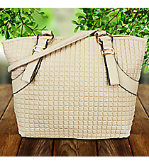 Beige Leather Squares Shoulder Tote #RY2372-WHITE/BEIGEuckle Crossbody Bag #MX-8535-1-TP