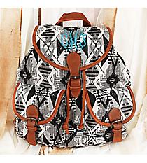 Black and White Diamond Aztec Backpack #RY812A-KM043-2-BK-1