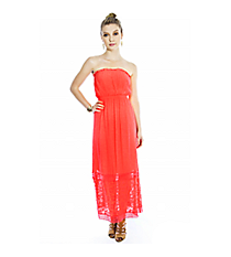 Mango Strapless Maxi Dress with Floral Trim Detail #S1017-MANGO *Choose Your Size
