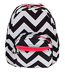 Black and Gray Chevron with Pink Trim Small Backpack #SBP-1324-P