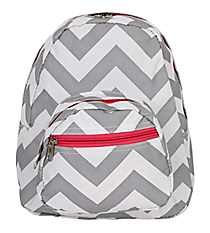 Gray and White Chevron with Pink Trim Small Backpack #SBP-1325-P