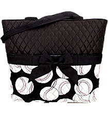 Baseball Quilted Diaper Bag #SKQ2121-BLACK
