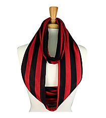 Burgundy and Black Striped Jersey Infinity Scarf #SC0058-BKWI