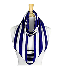 Blue and White Striped Jersey Infinity Scarf #SC0058-BLIV