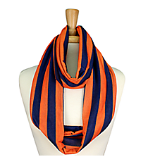 Navy and Orange Striped Jersey Infinity Scarf #SC0058-NVOR