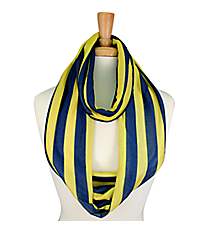 Navy and Yellow Striped Jersey Infinity Scarf #SC0058-NVYE