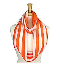 Orange and White Striped Jersey Infinity Scarf #SC0058-ORIV