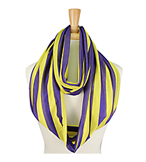 Purple and Yellow Purple and Yellow Striped Jersey Infinity Scarf #SC0058-PUYEJersey Infinity Scarf #SC0058-PUYE