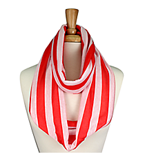 Red and White Striped Jersey Infinity Scarf #SC0058-WTWI