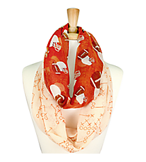 Dark Orange and White Football Theme Infinity Scarf #SC0061-DORWT