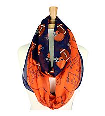 Navy Blue and Orange Football Theme Infinity Scarf #SC0061-NVOR