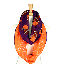 Purple and Orange Football Theme Infinity Scarf #SC0061-PUOR