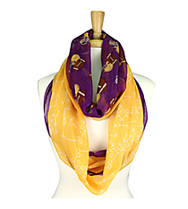 Purple and Gold Football Theme Infinity Scarf #SC0061-PUYE