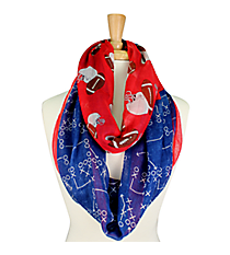 Navy Blue and Red Football Theme Infinity Scarf #SC0061-RDBL