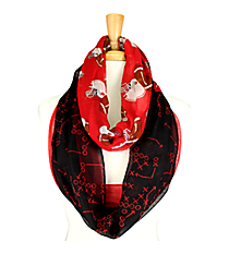Red and Black Football Theme Infinity Scarf #SC0061-BKRD