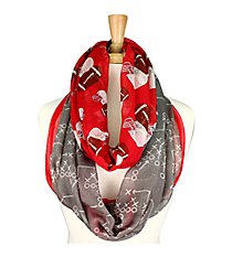 Red and Gray Football Theme Infinity Scarf #SC0061-RDGY