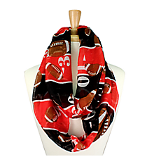 Red and Black Football Field Infinity Scarf #SC0062-RD/BK