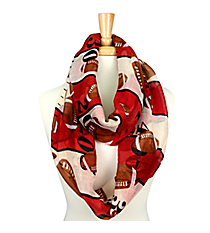 Crimson and Ivory Football Field Infinity Scarf #SC0062-WI/IV