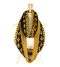 Black and Gold Fleur De Lis Infinity Scarf #SC0061-BK/YE