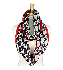 Houndstooth and Red Alabama State Infinity Scarf #SC0065-BKRD