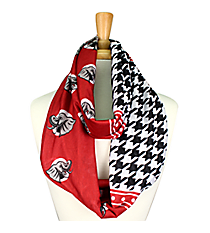 Houndstooth and Red Alabama Elephant Infinity Scarf #SC0067-BKWI