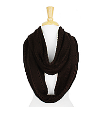 Brown Knit Infinity Scarf #SC1285-BROWN
