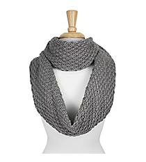 Grey Knitted Infinity Scarf #SC1809-GREY