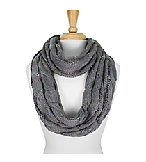 Grey Cable Knit Infinity Scarf #SC1810-GREY