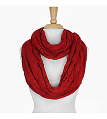Red Cable Knit Infinity Scarf #SC1810-RED