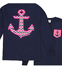 Southern Couture Chevron Anchor with Faux Front Pocket Navy Long Sleeve T-Shirt *Choose Your Size