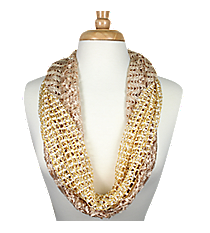 Natural and White Open Weave Infinity Scarf 2-Piece Set #AN0567-WN