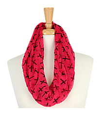 Fuchsia with Black Crosses Sheer Infinity Scarf #AS-212-FUCHSIA